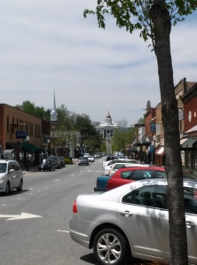 View down the street of Downtown Sylva, NC